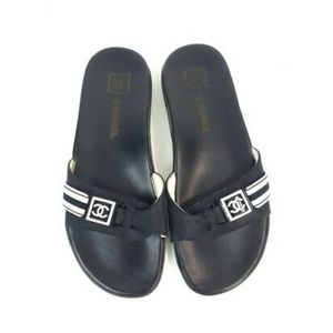 Chanel Black White Flip Flop Scholl's Shoes 36